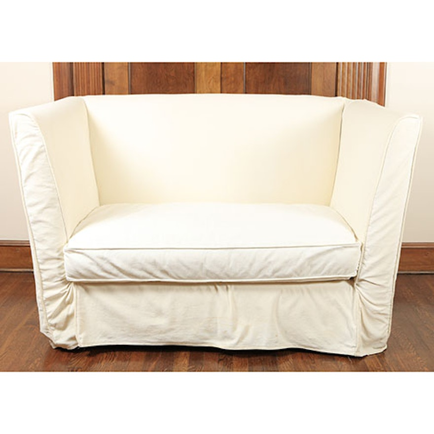 Mitchell Gold Slip Covered Loveseat Ebth