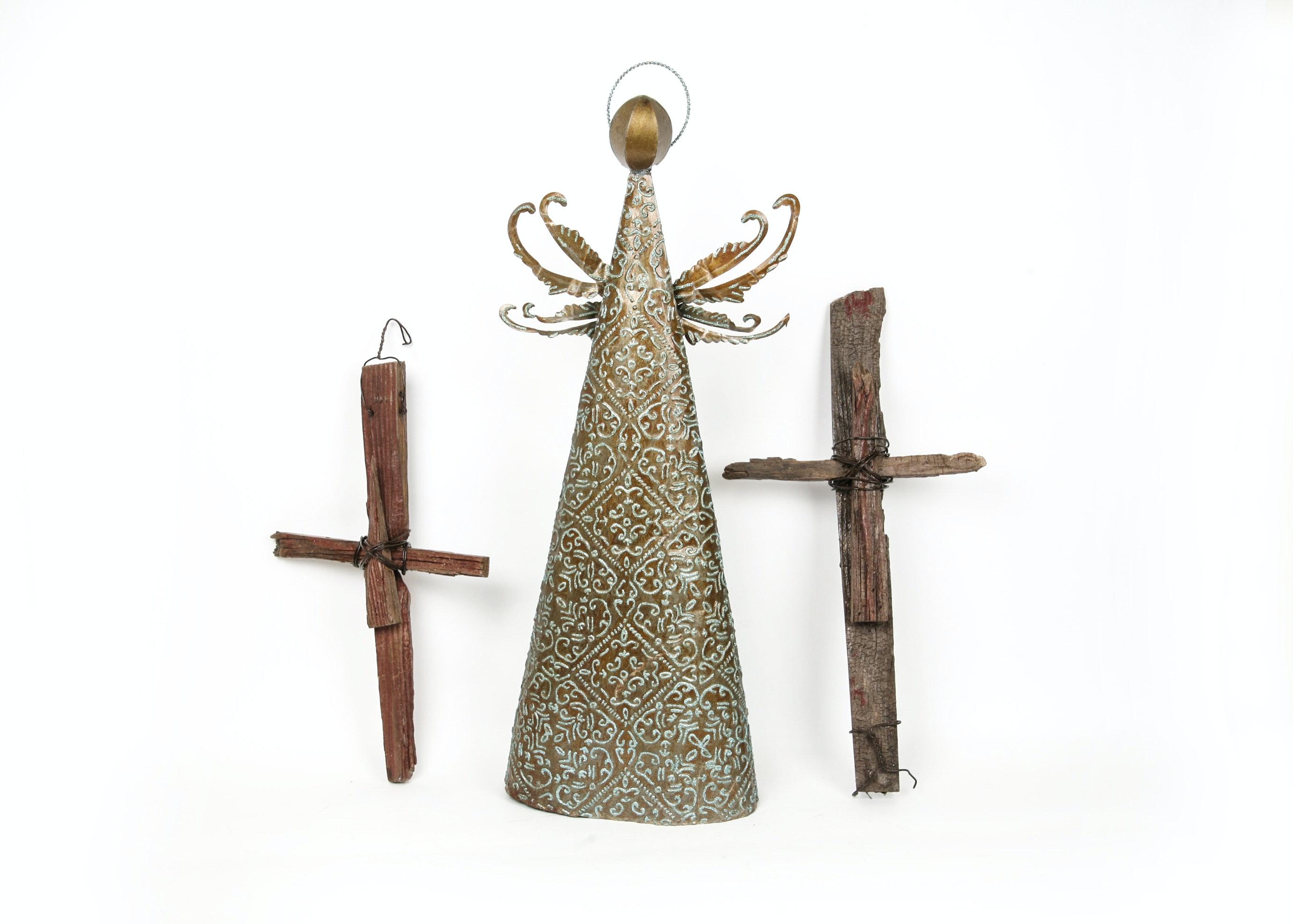 Vintage Angel and Cross Decor