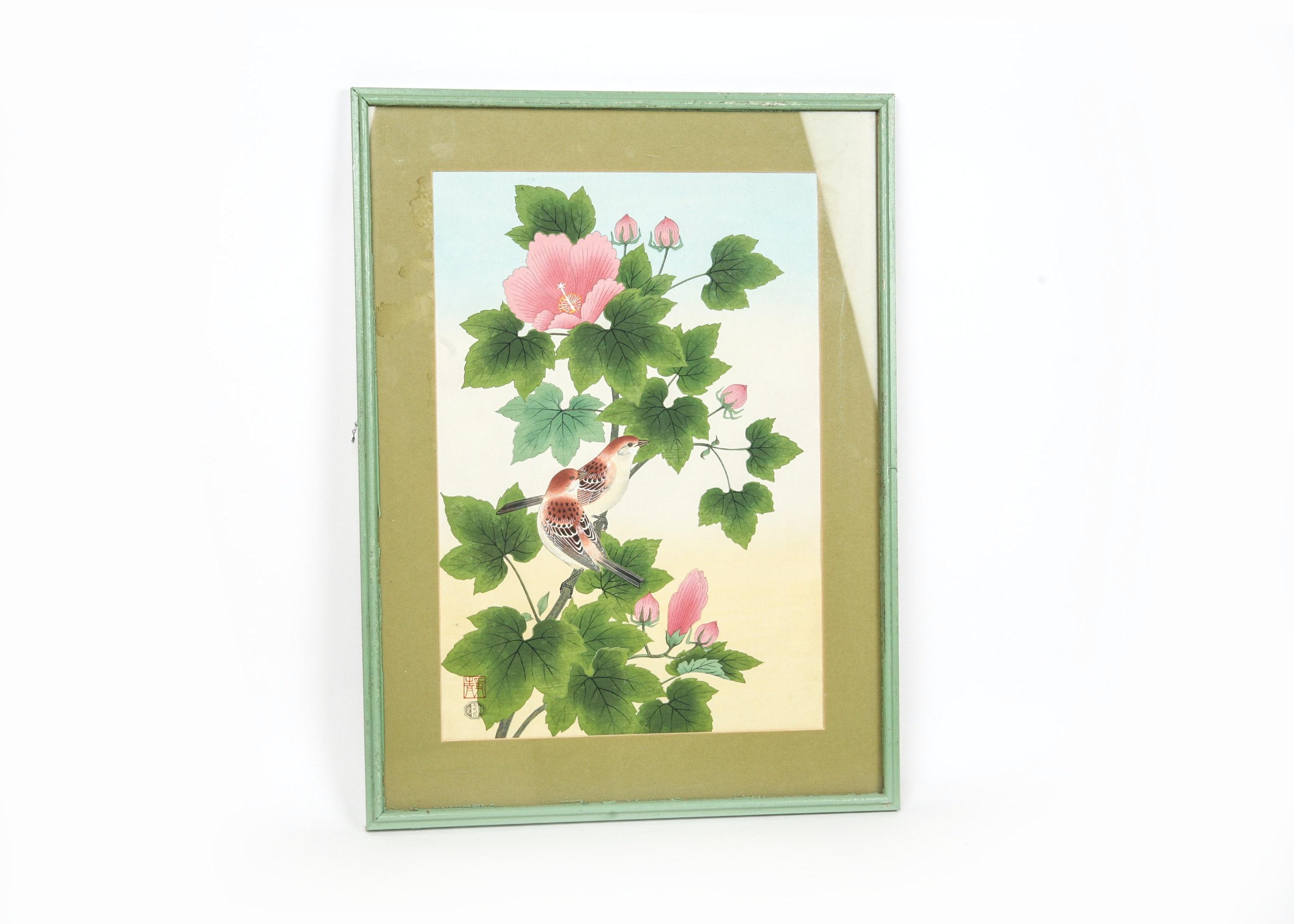 "Vintage Japanese Wood Block Print ""Sparrow and Habiscus Cushion Mutabilis"""