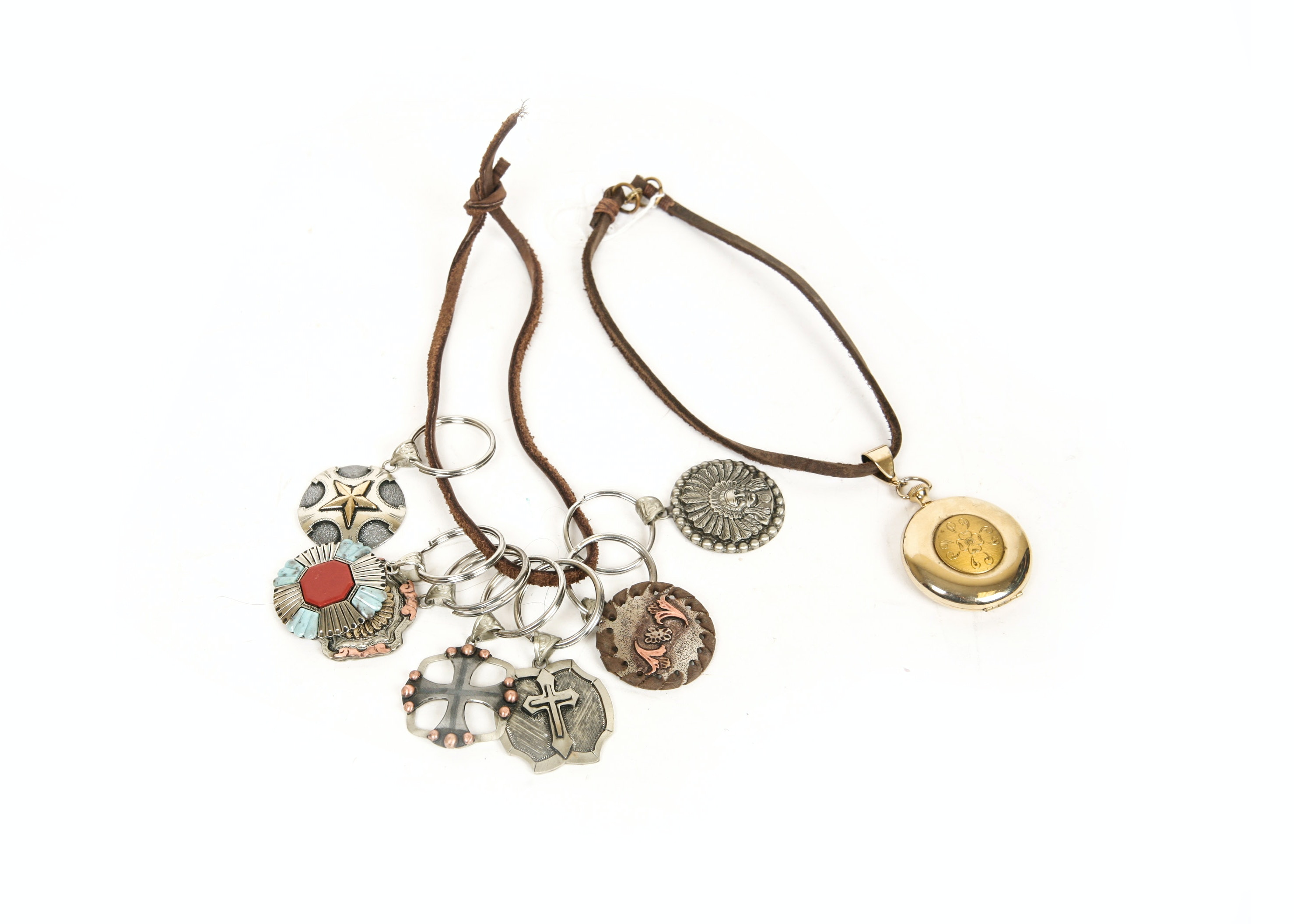 Collection of Western Key Chains and Locket Necklaces