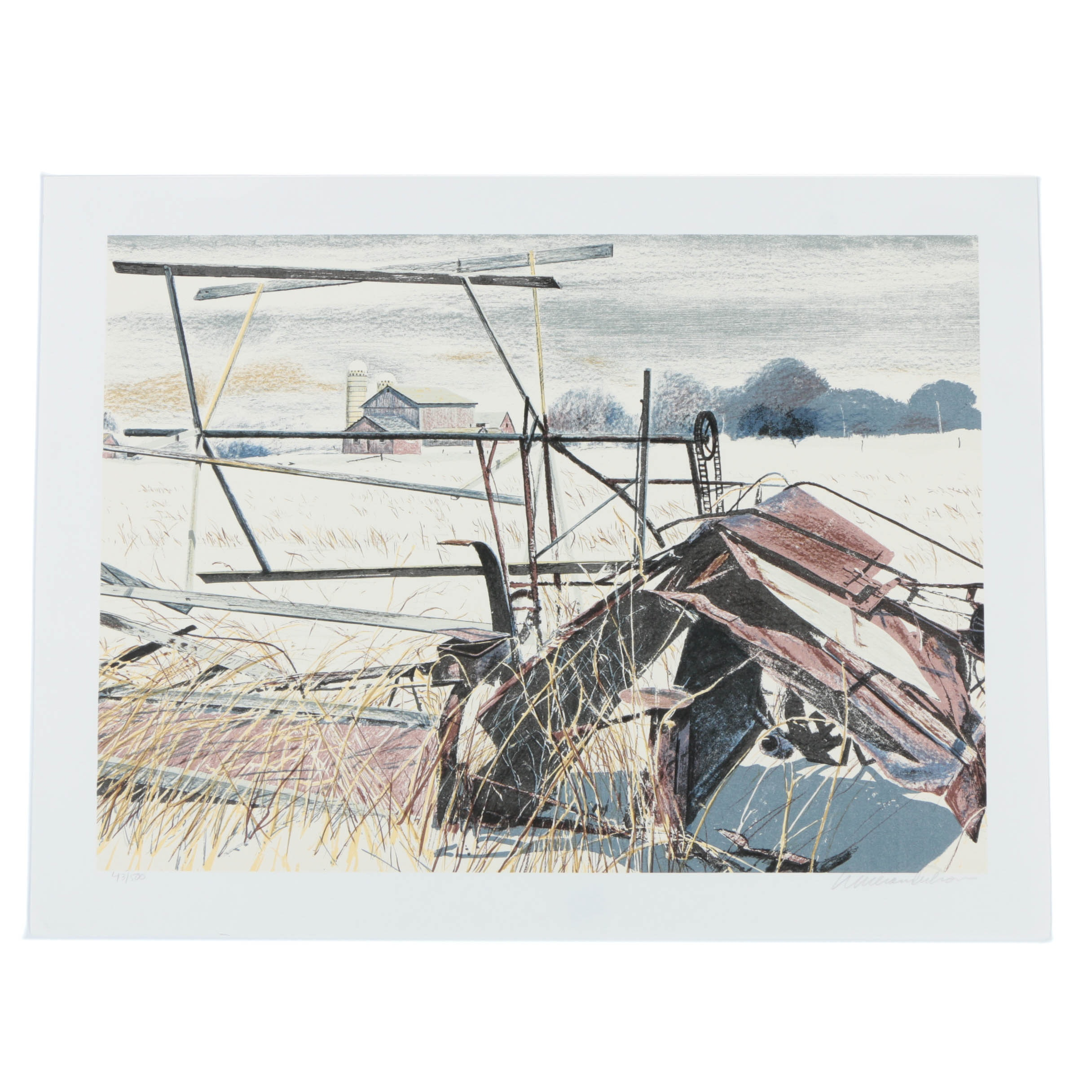 """William Nelson Limited Edition Serigraph on Paper """"No More Harvest to Reap"""""""