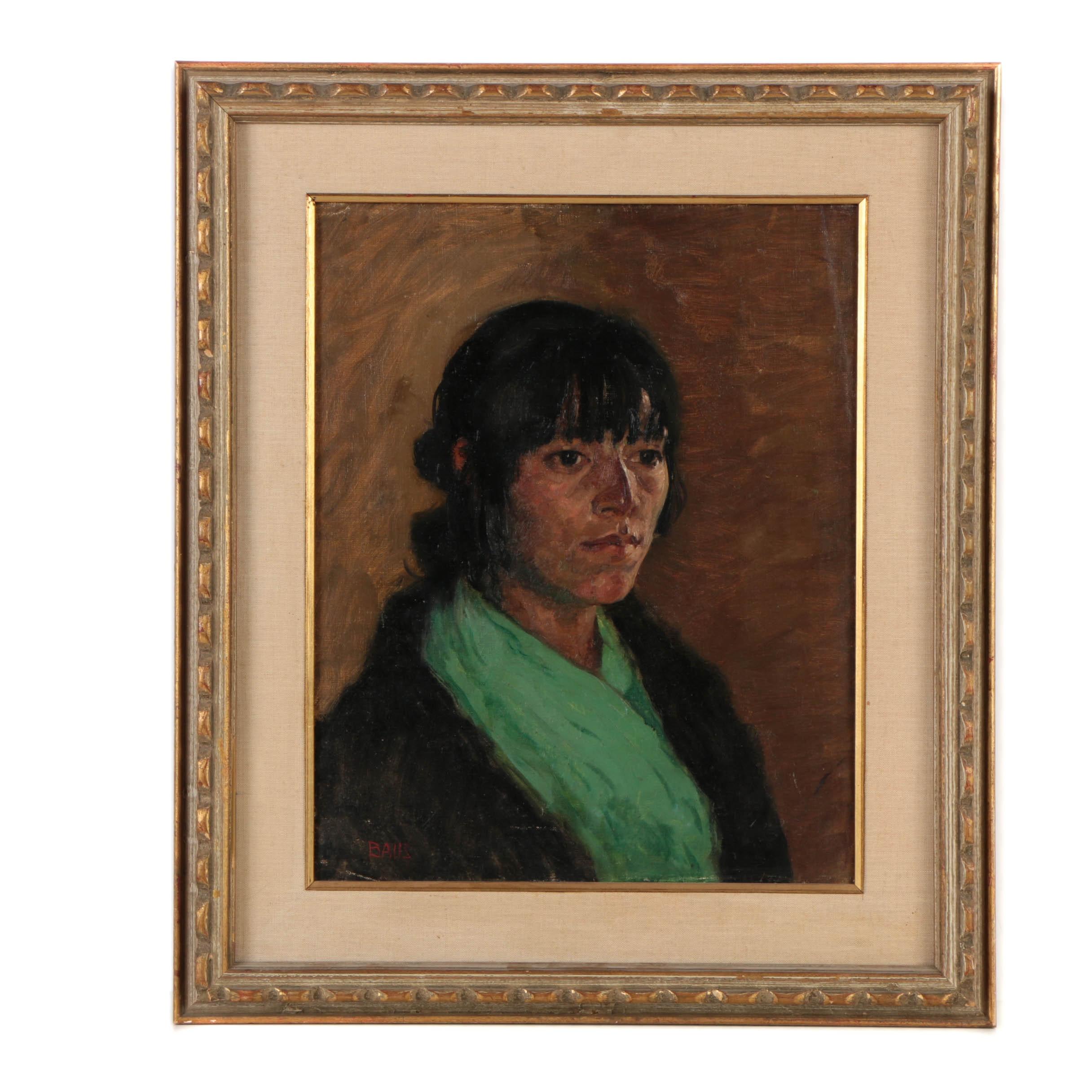 Rare Southwestern Portrait of a Native American by Simon Baus