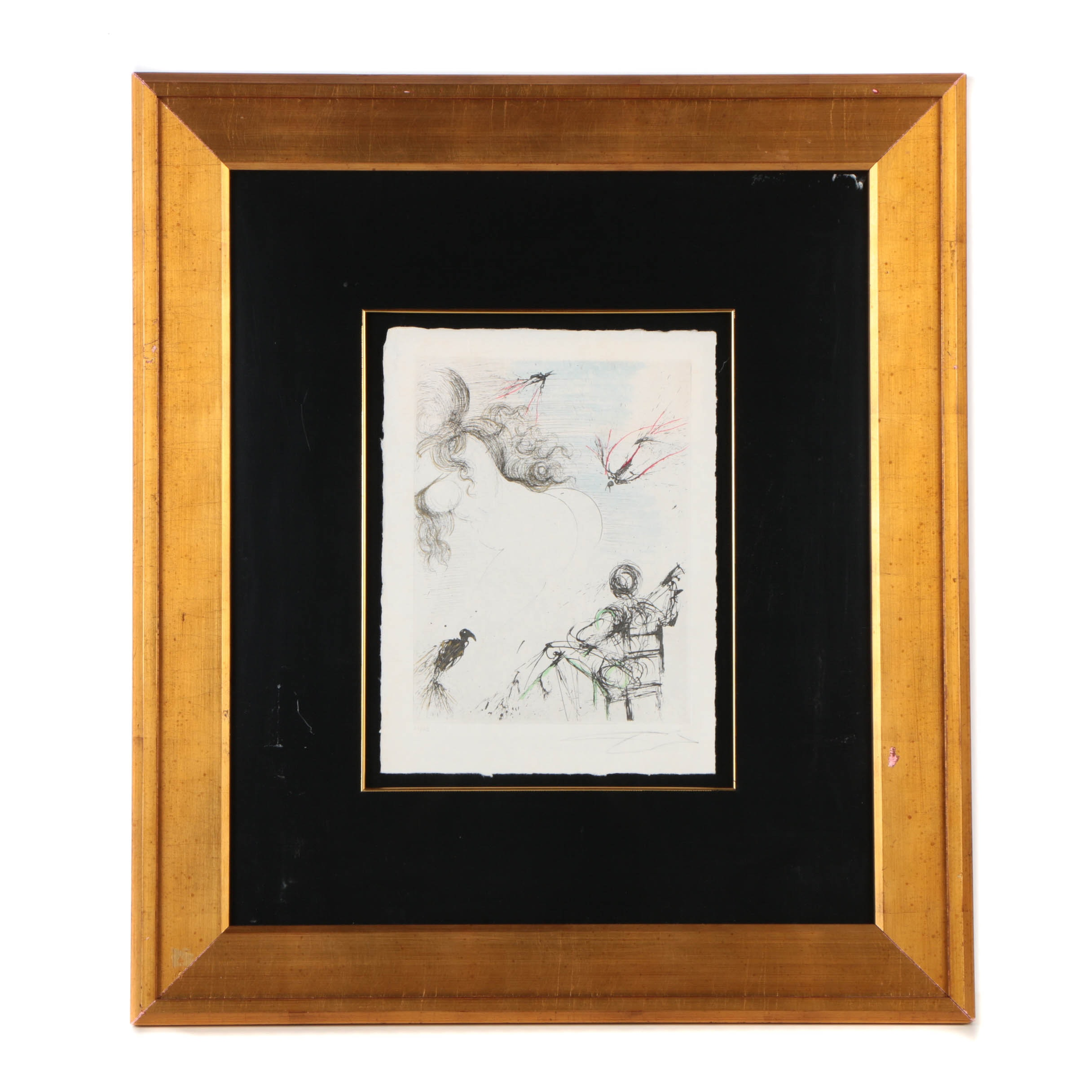 "Salvador Dalí Limited Edition Etching on Paper ""Nu au peroquet"""