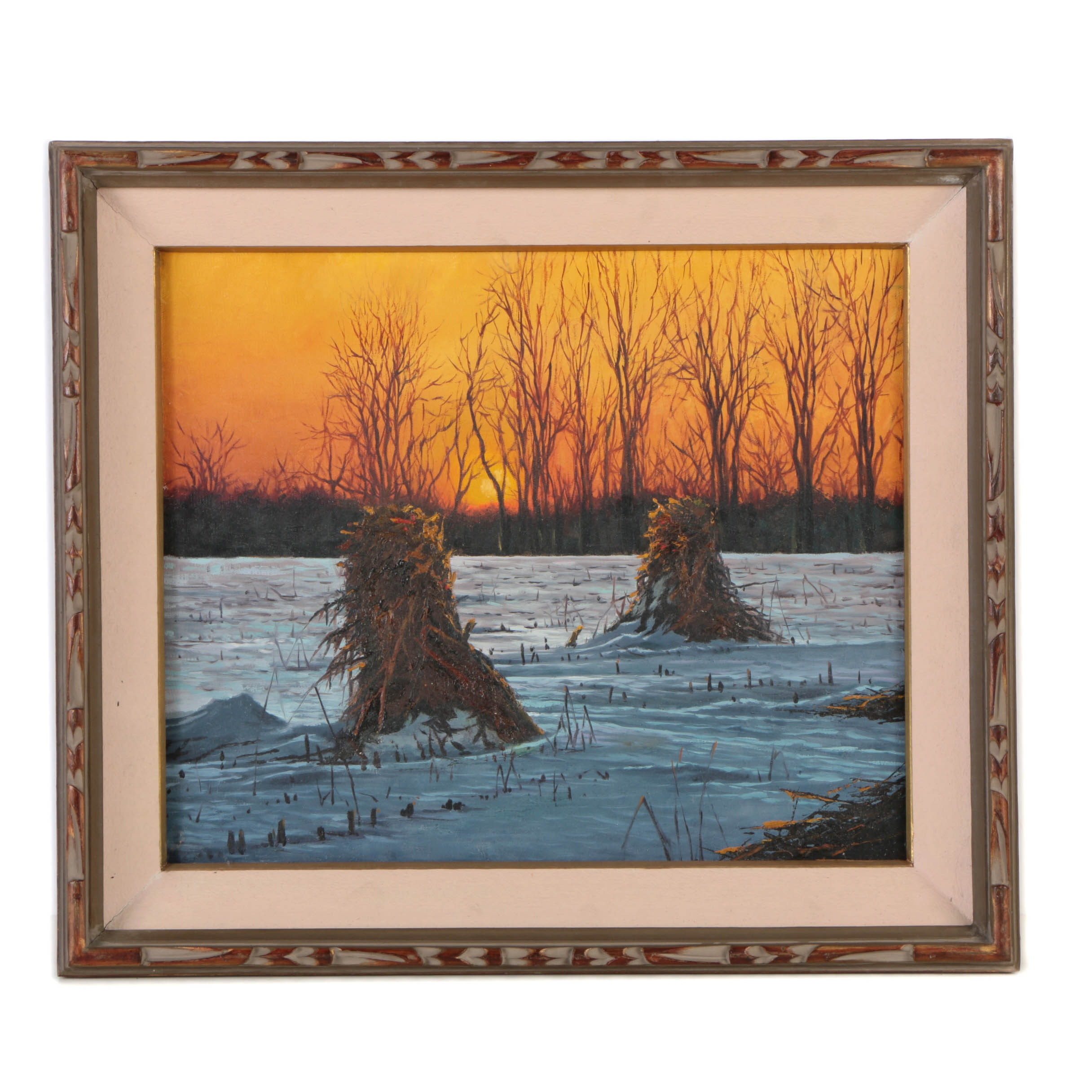 Acrylic Painting of a Wintry Landscape.