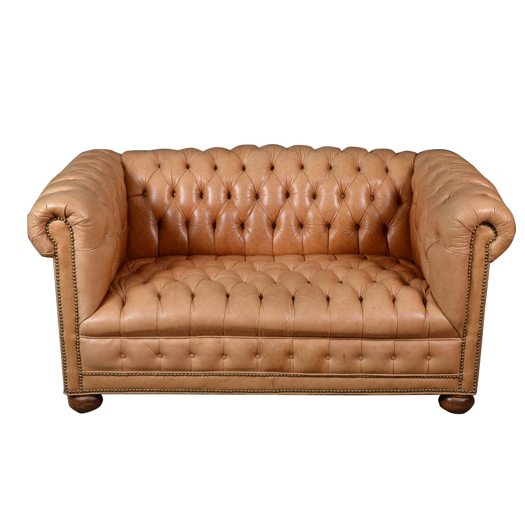 Pale Saddle Tufted Leather Loveseat