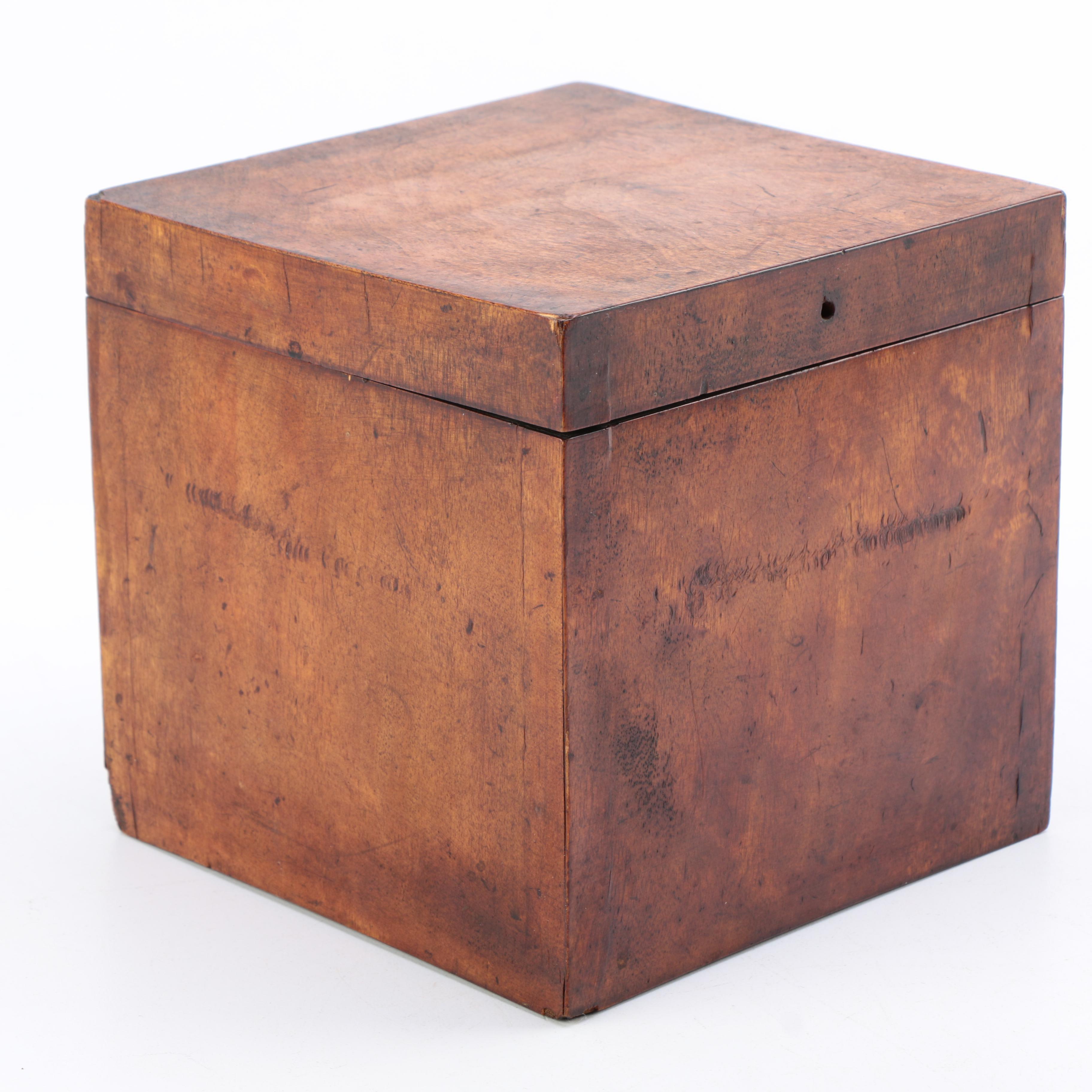 Antique Cube Shaped Walnut Box
