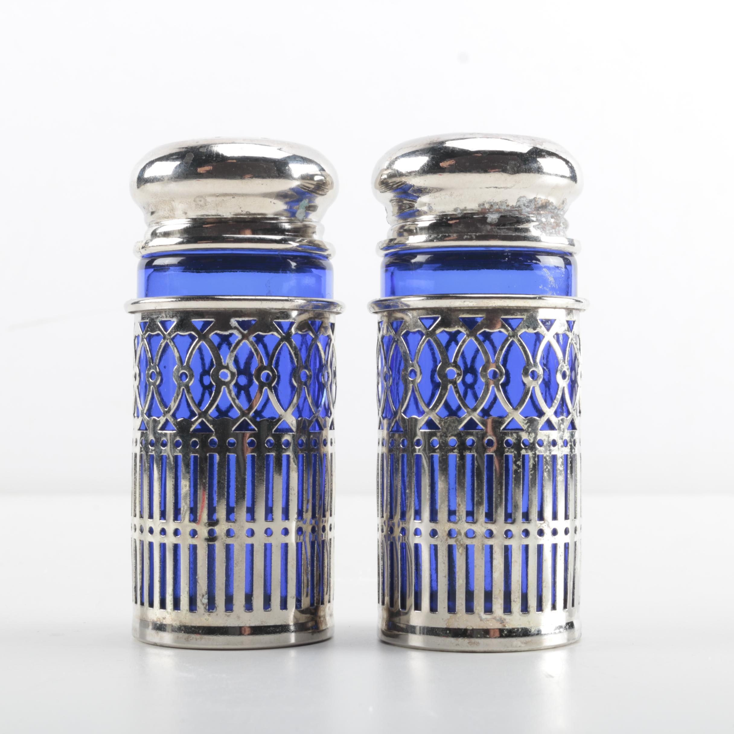Silver Plate and Cobalt Blue Glass Salt and Pepper Shakers