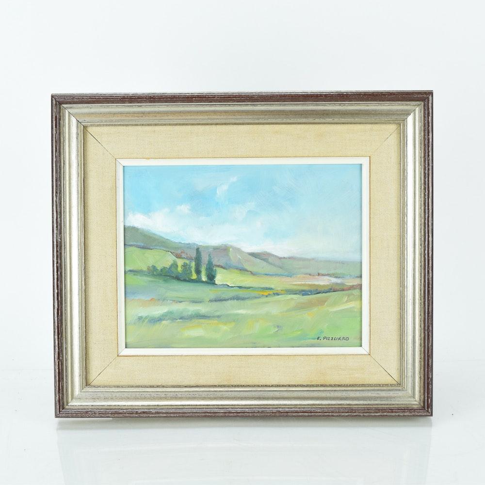 F. Pizzurro Framed Oil on Board Landscape Scene