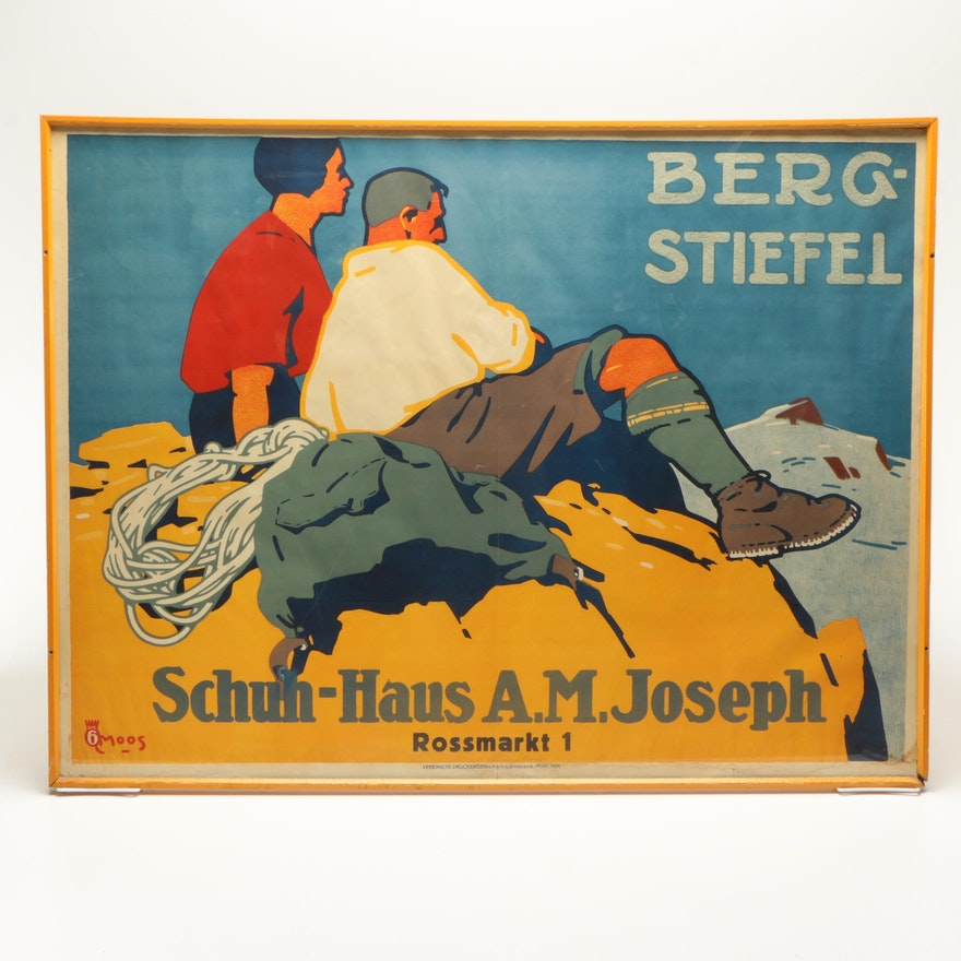 Berg Schuh Haus Stiefel For Vintage Poster Lithographic 7mYgvyIb6f