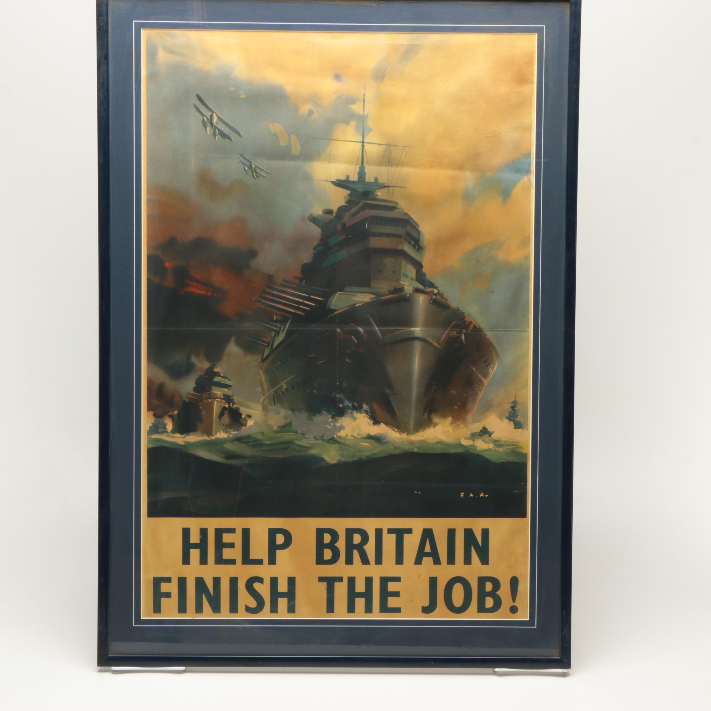 World War II British Naval Propaganda Poster