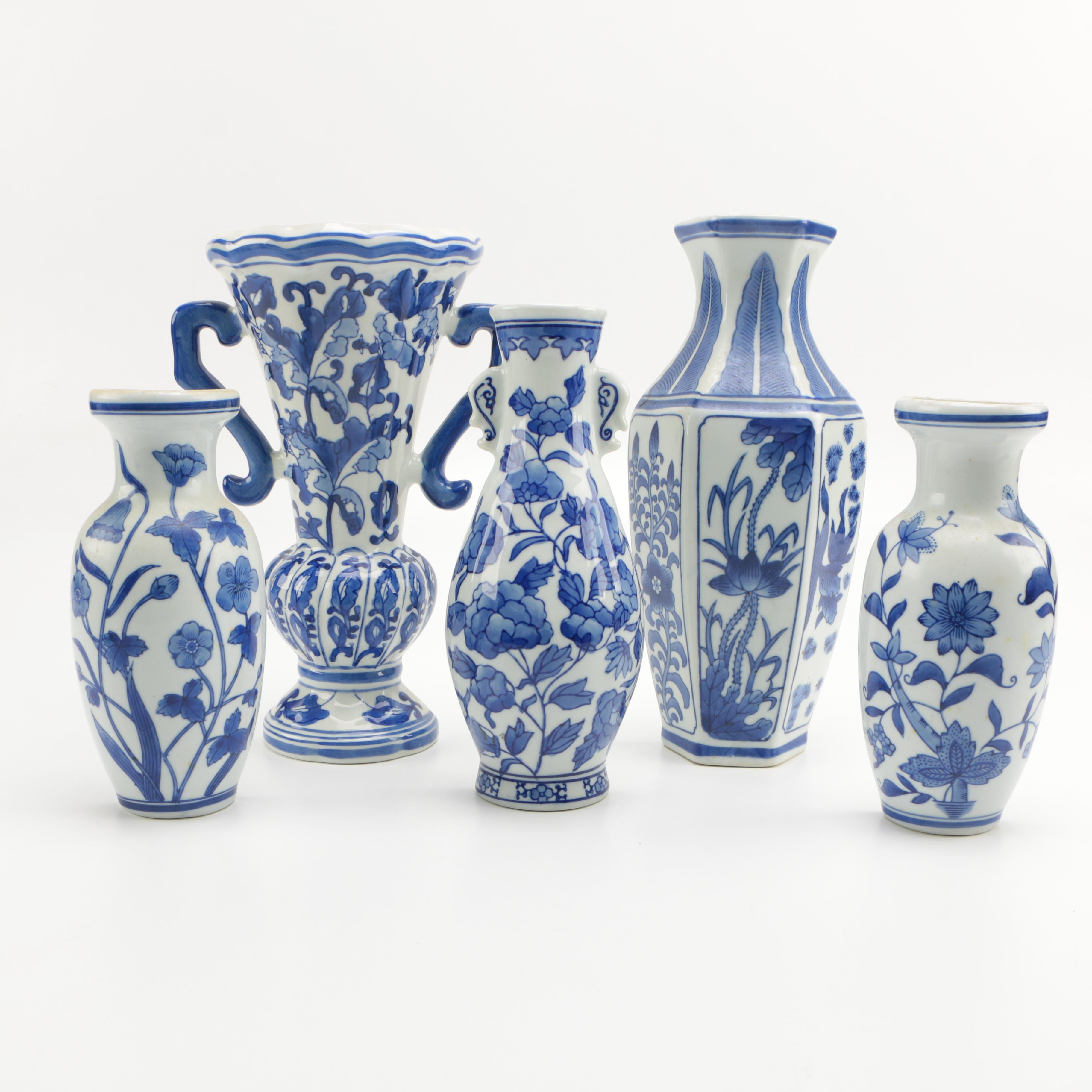 Selection of Blue and White Porcelain Wall Vases