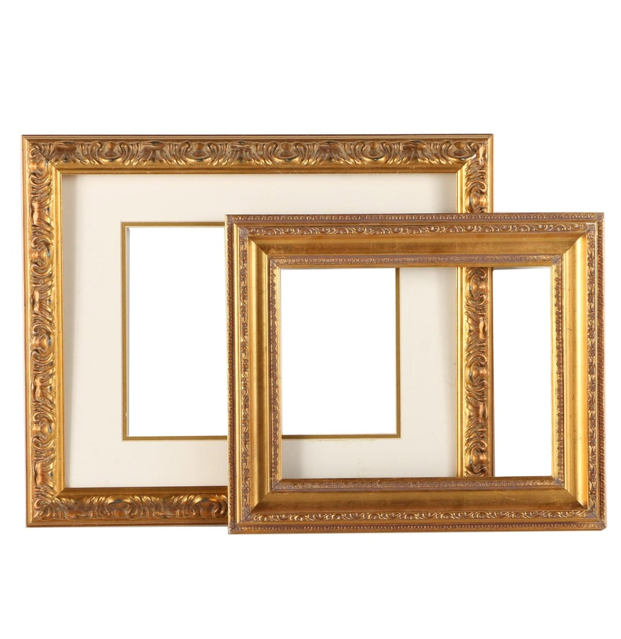 Pair of gold tone sculpted gesso art frames ebth pair of gold tone sculpted gesso art frames jeuxipadfo Images