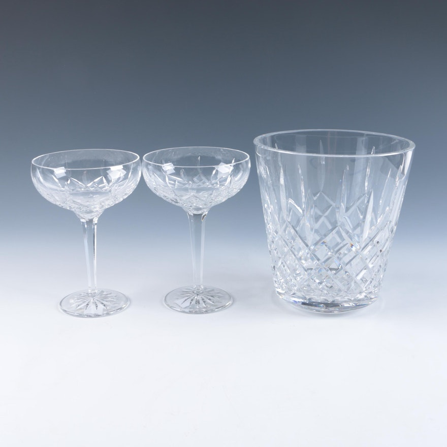Waterford crystal lismore ice bucket and champagne coupes ebth - Waterford champagne coupe ...