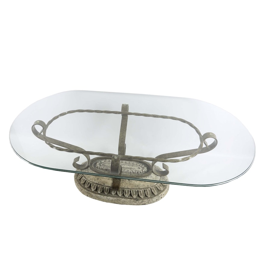 Glass top wrought iron coffee table ebth for Oval wrought iron coffee table with glass top
