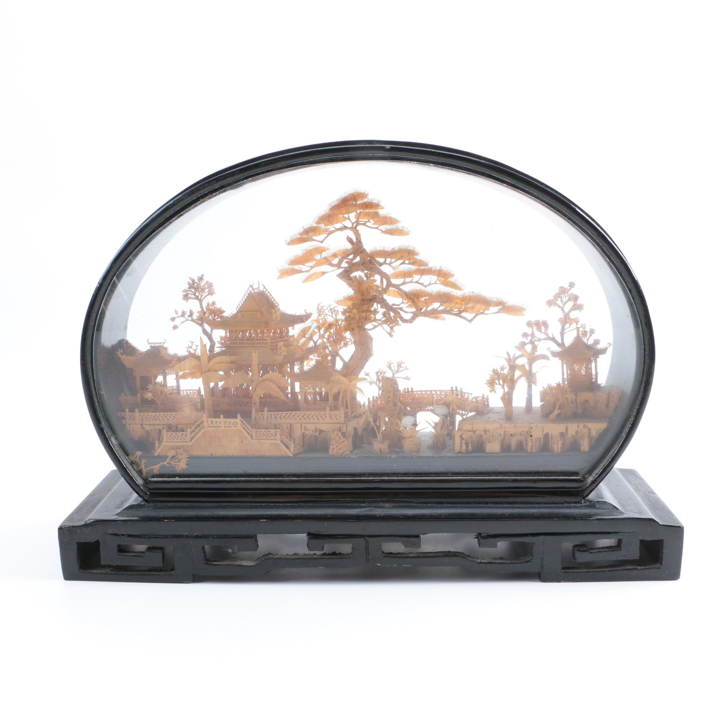 Framed Chinese Carved Cork Diorama