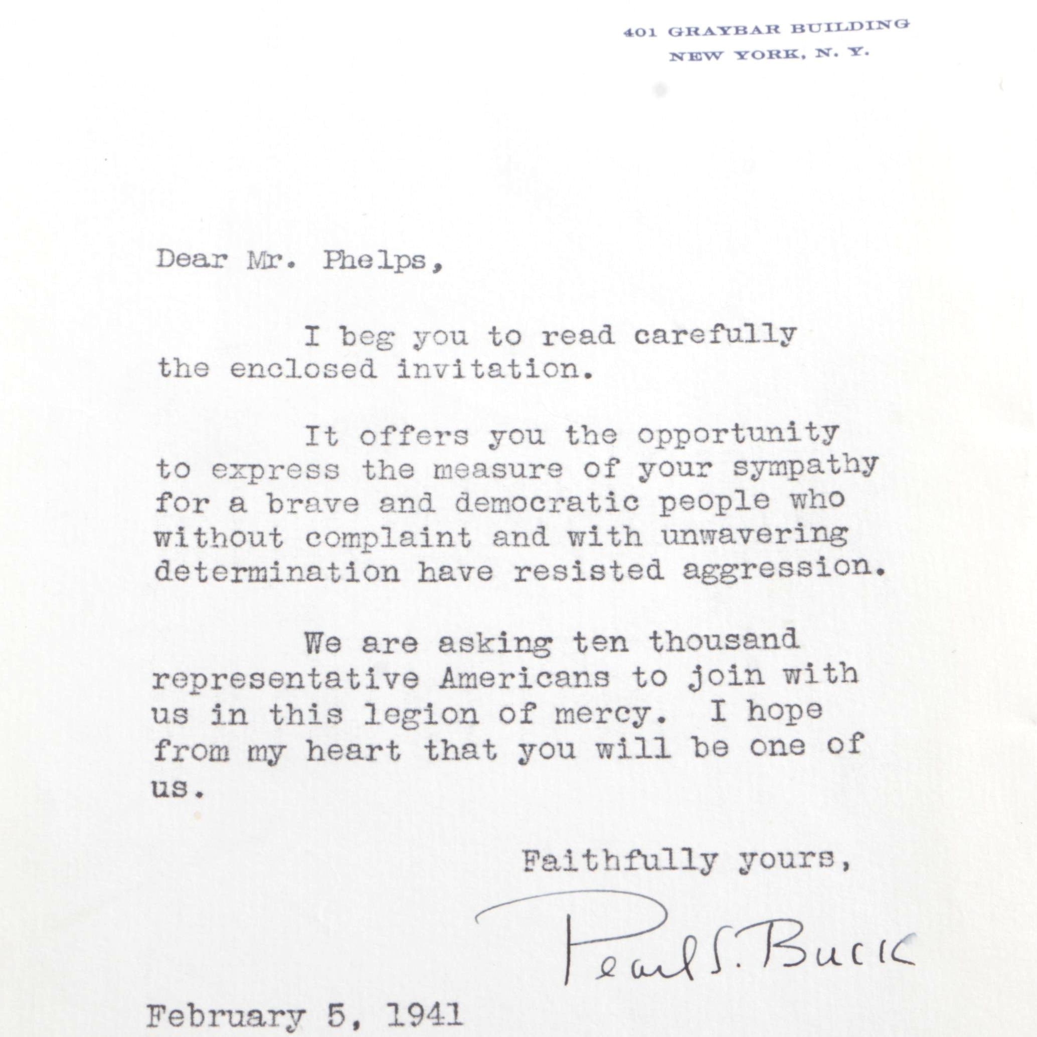 1941 Typed and Signed Pearl S. Buck Appeal Letter