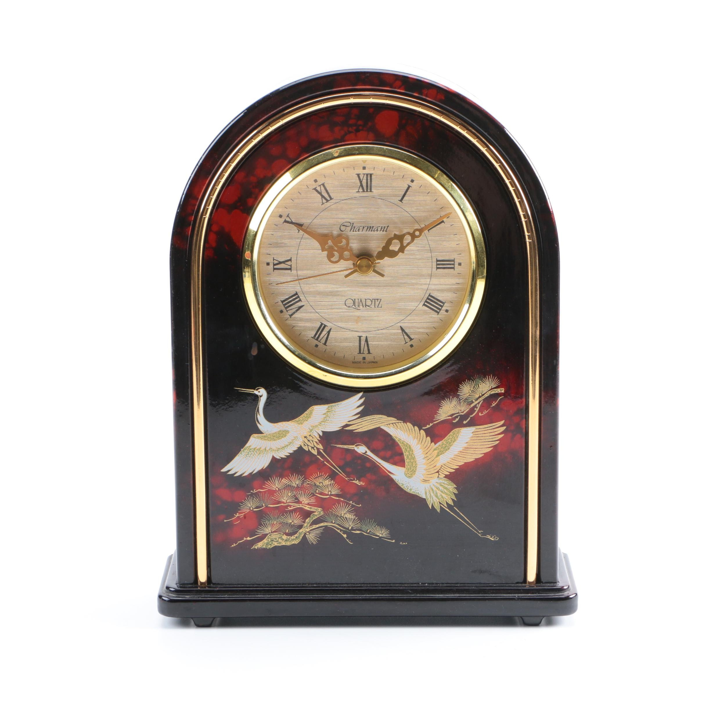 Charmant Crane-Themed Mantel Clock