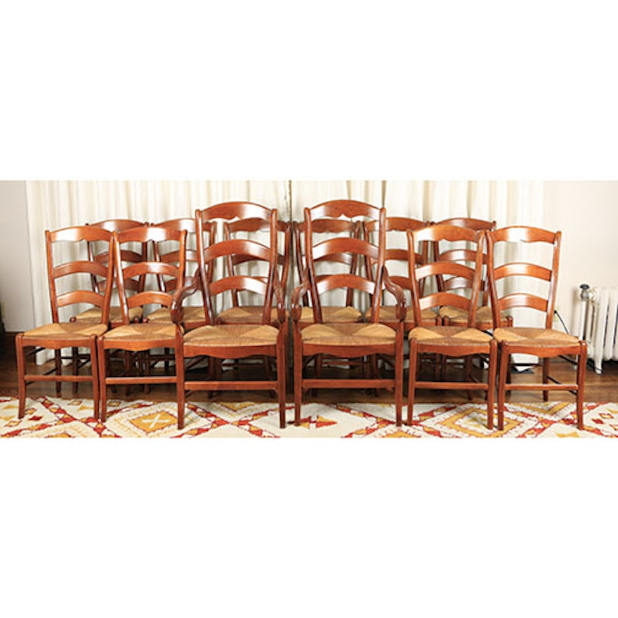 Country French Pierre Deux Cherry Ladder Back Dining Chairs