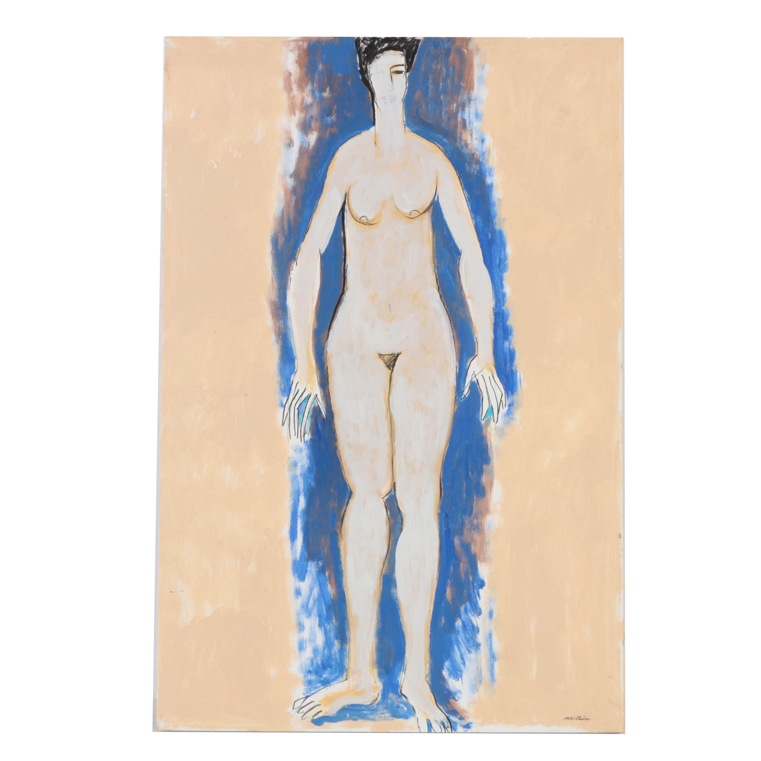 Ronald Ahlstrom Abstract Acrylic Painting on Canvas Nude Figure