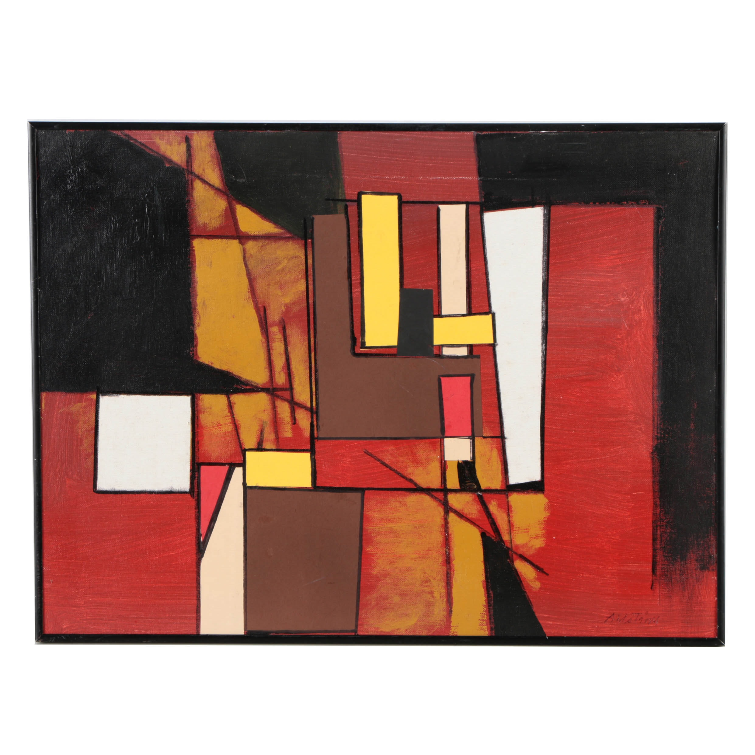 "Ronald Ahlström Acrylic Painting on Board ""Red Yellow Black"""
