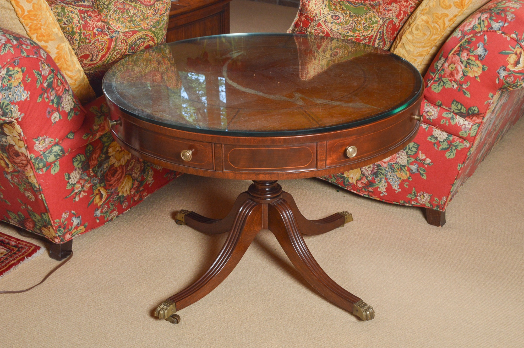 Duncan Phyfe Style Mahogany Drum Table