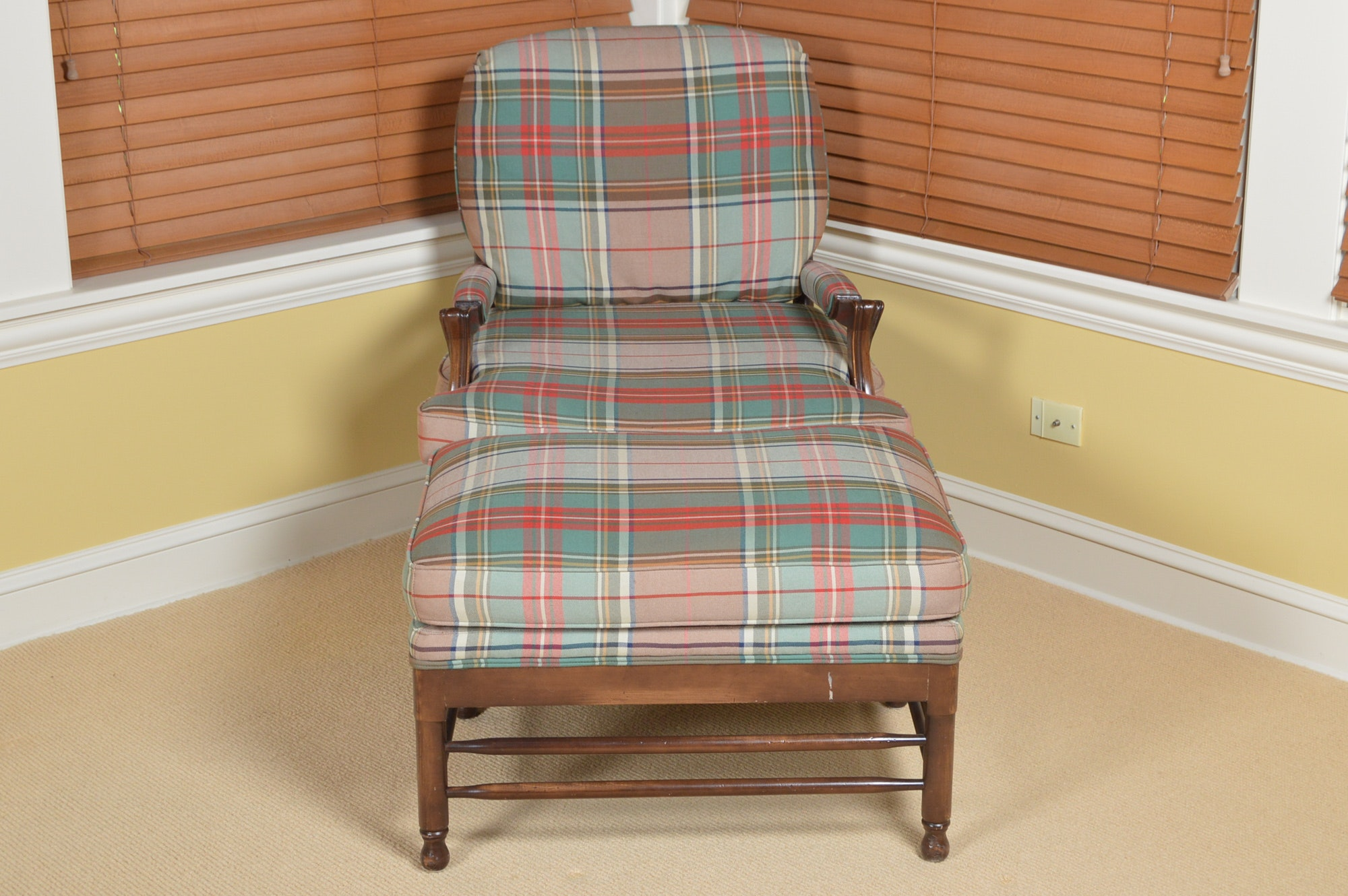 Plaid Accent Chair and Ottoman by Calico Corners