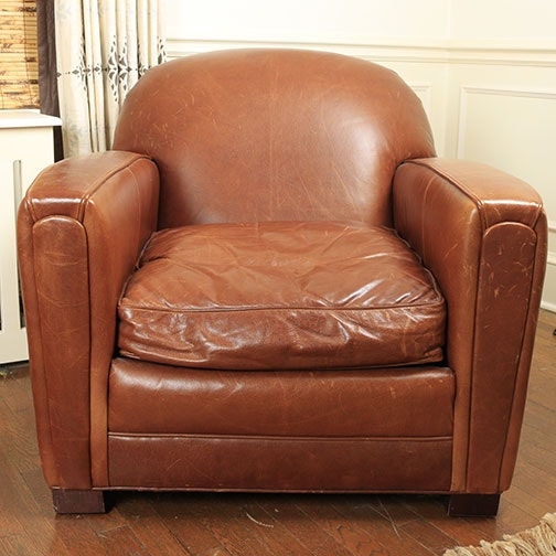 Leather Club Chair With Down Filled Cushion ...