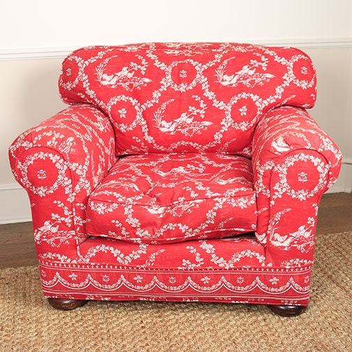Crate and Barrel Club Chair with Toile Upholstery