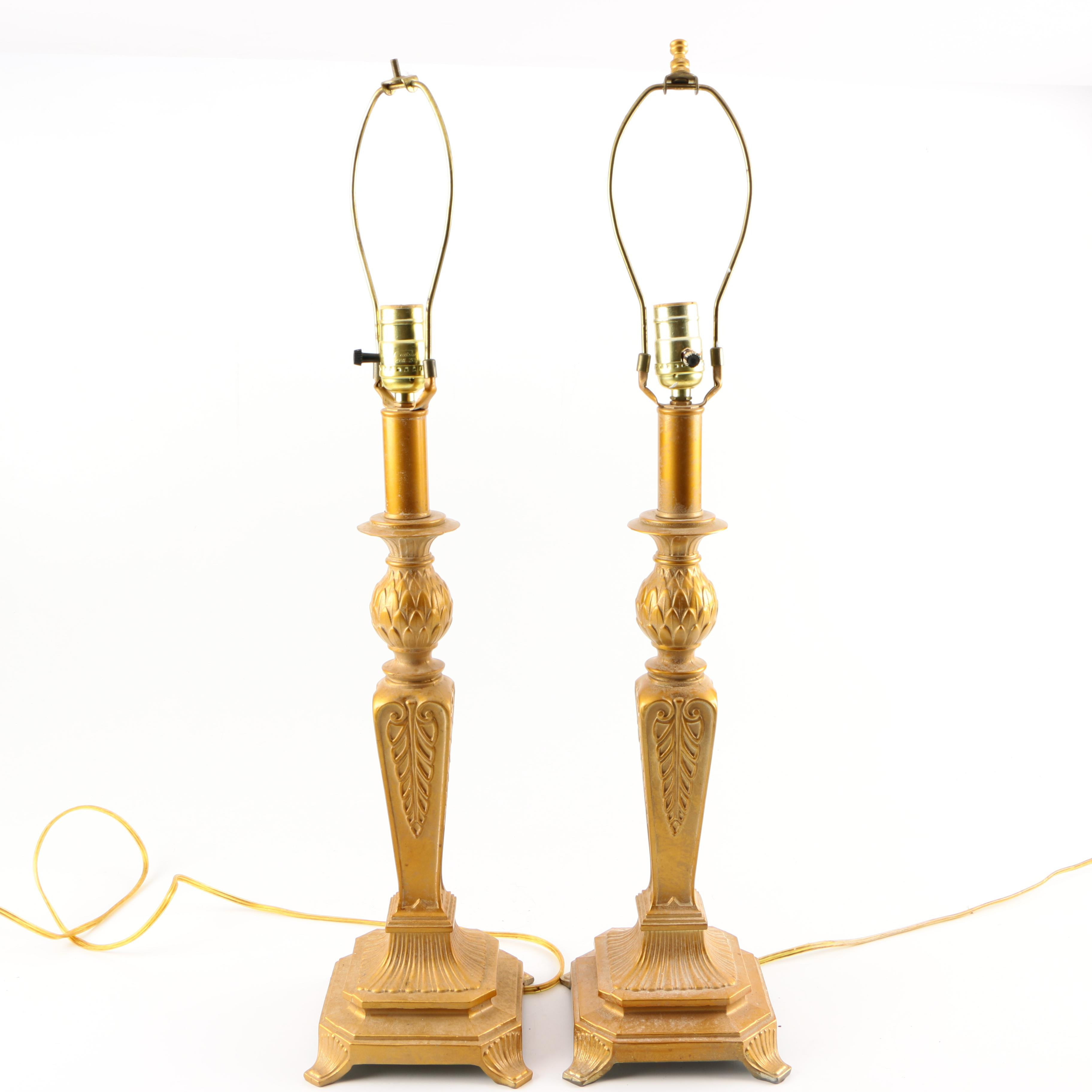 Gold Tone Metal Table Lamps
