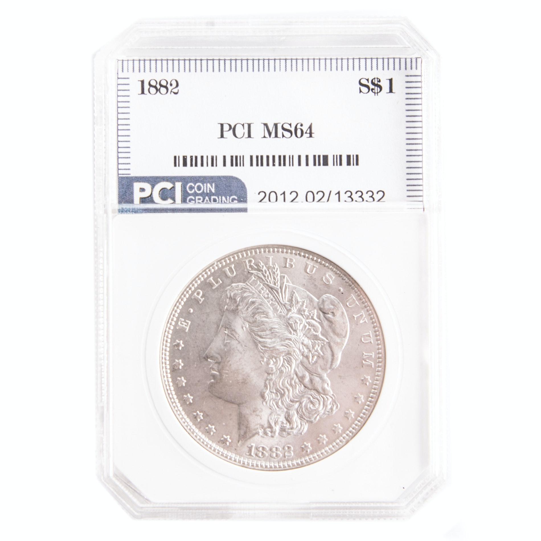 Encapsulated 1882 Morgan Silver Dollar