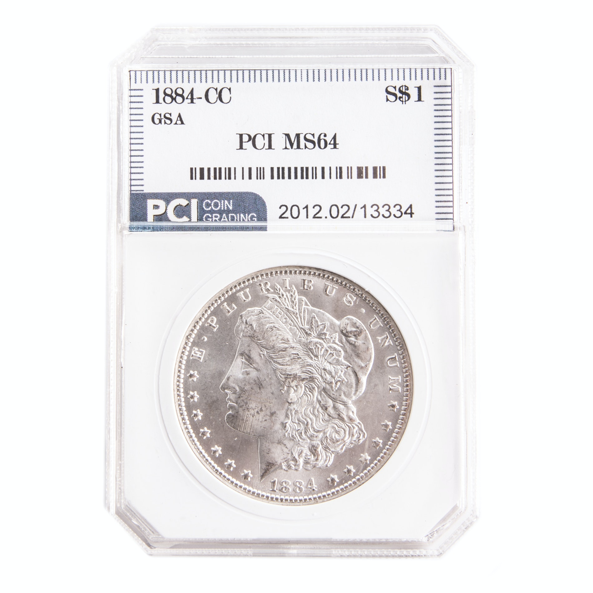 Encapsulated 1884 CC Morgan Silver Dollar