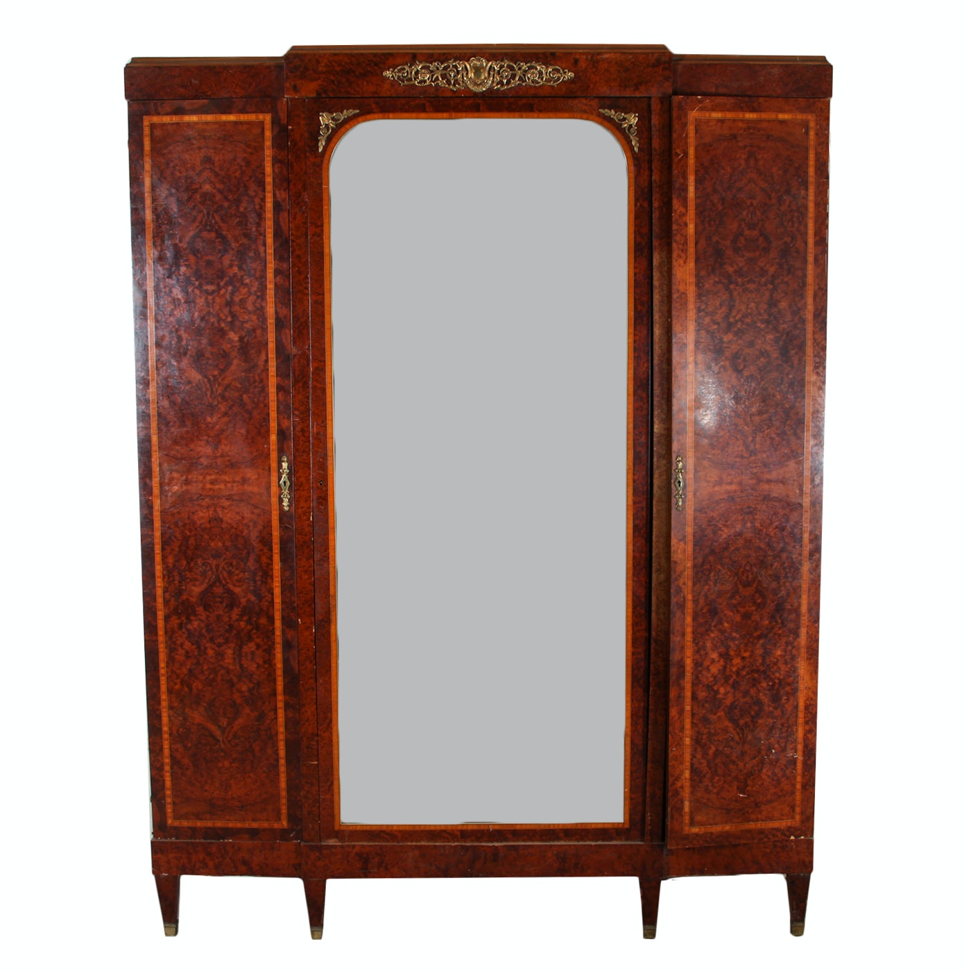 Antique Louis XVI Style Mirrored and Inlaid Armoire