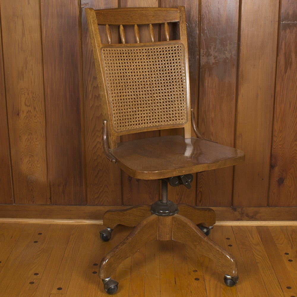 Vintage Cane-Back Oak Office Chair