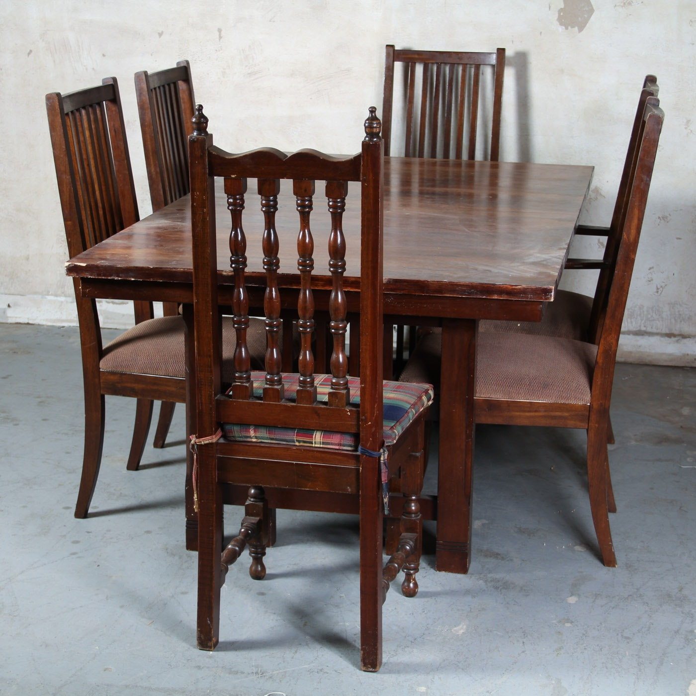 Mission Style Wooden Dining Table and Chairs