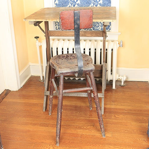 Vintage Drafting Table and Stool