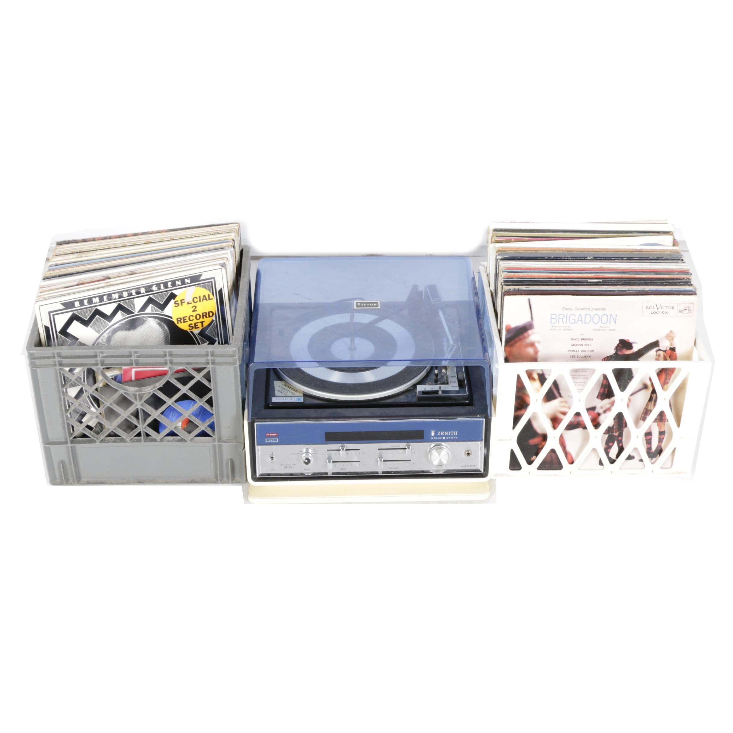 Vintage Zenith Record Player and Motown, Other LPs