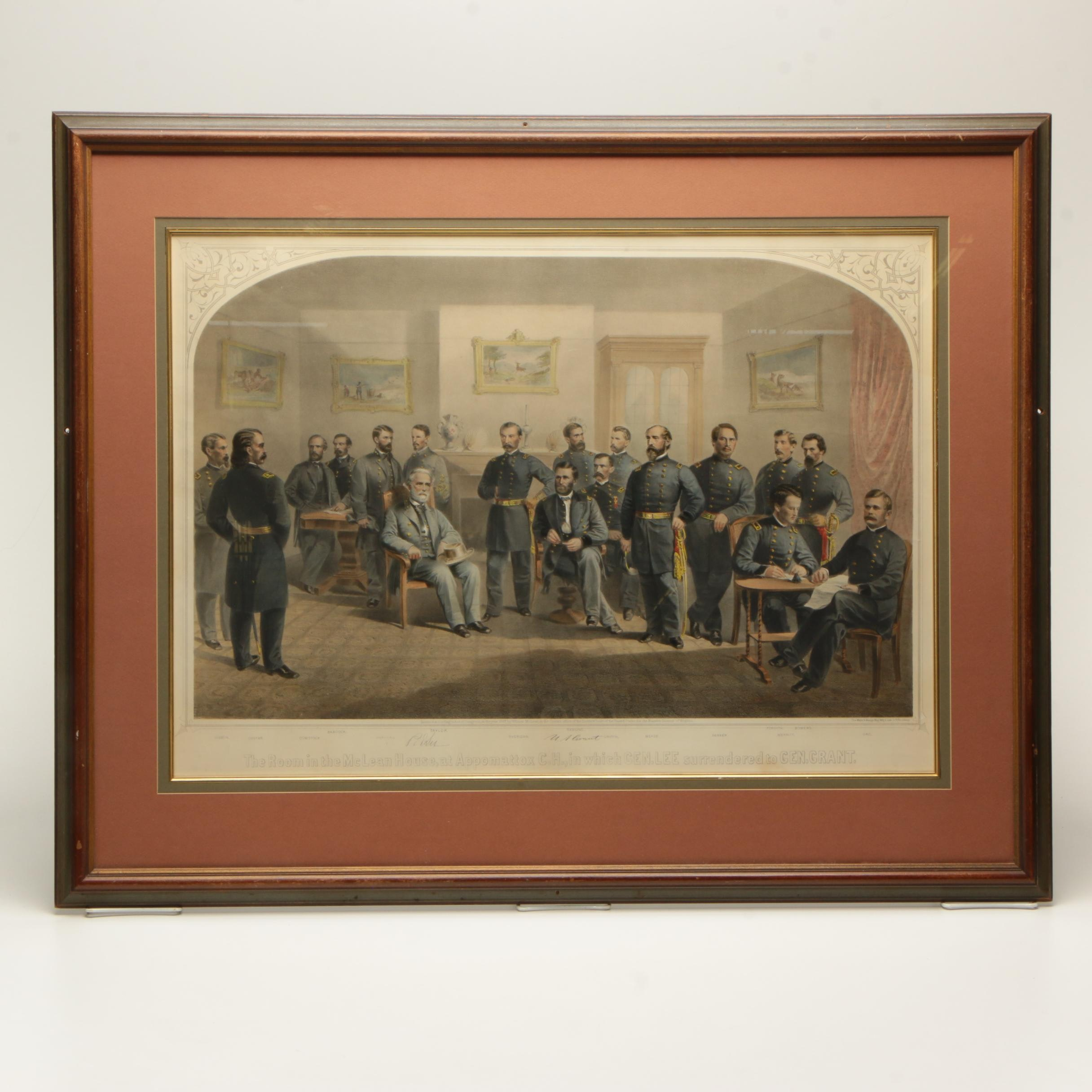 """Hand-Colored Lithograph """"The Room in the McLean House"""""""