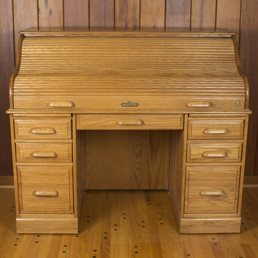 Riverside Quot Oak Creek Quot Roll Top Desk Ebth