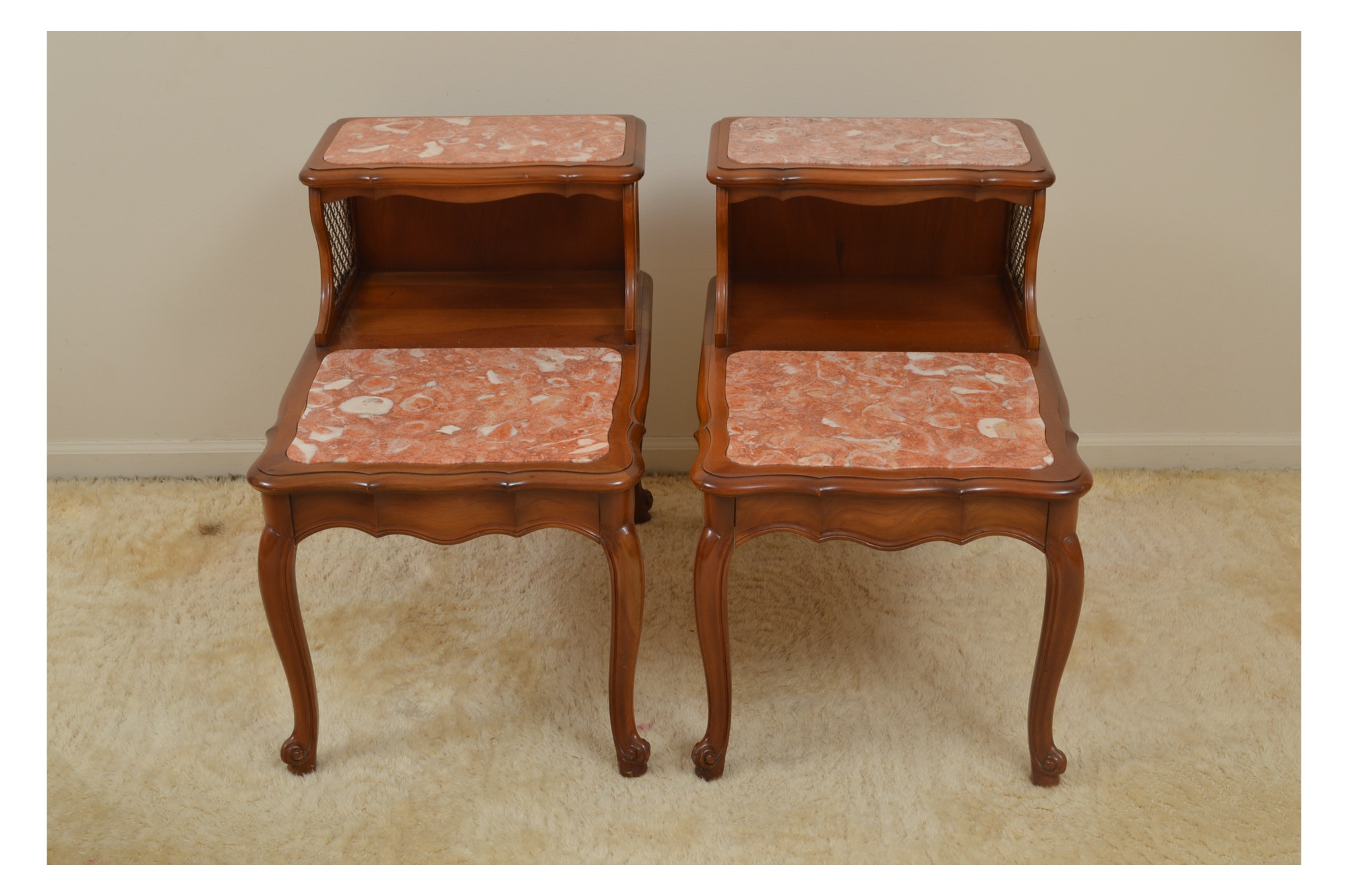 Pair of Pink Marble-Topped Step Tables