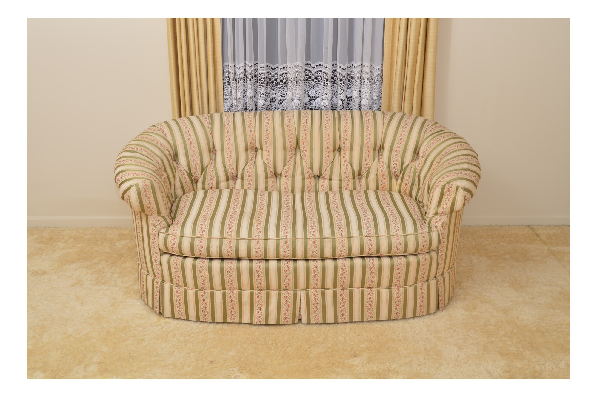Vintage Cabriole Settee with Striped Upholstery
