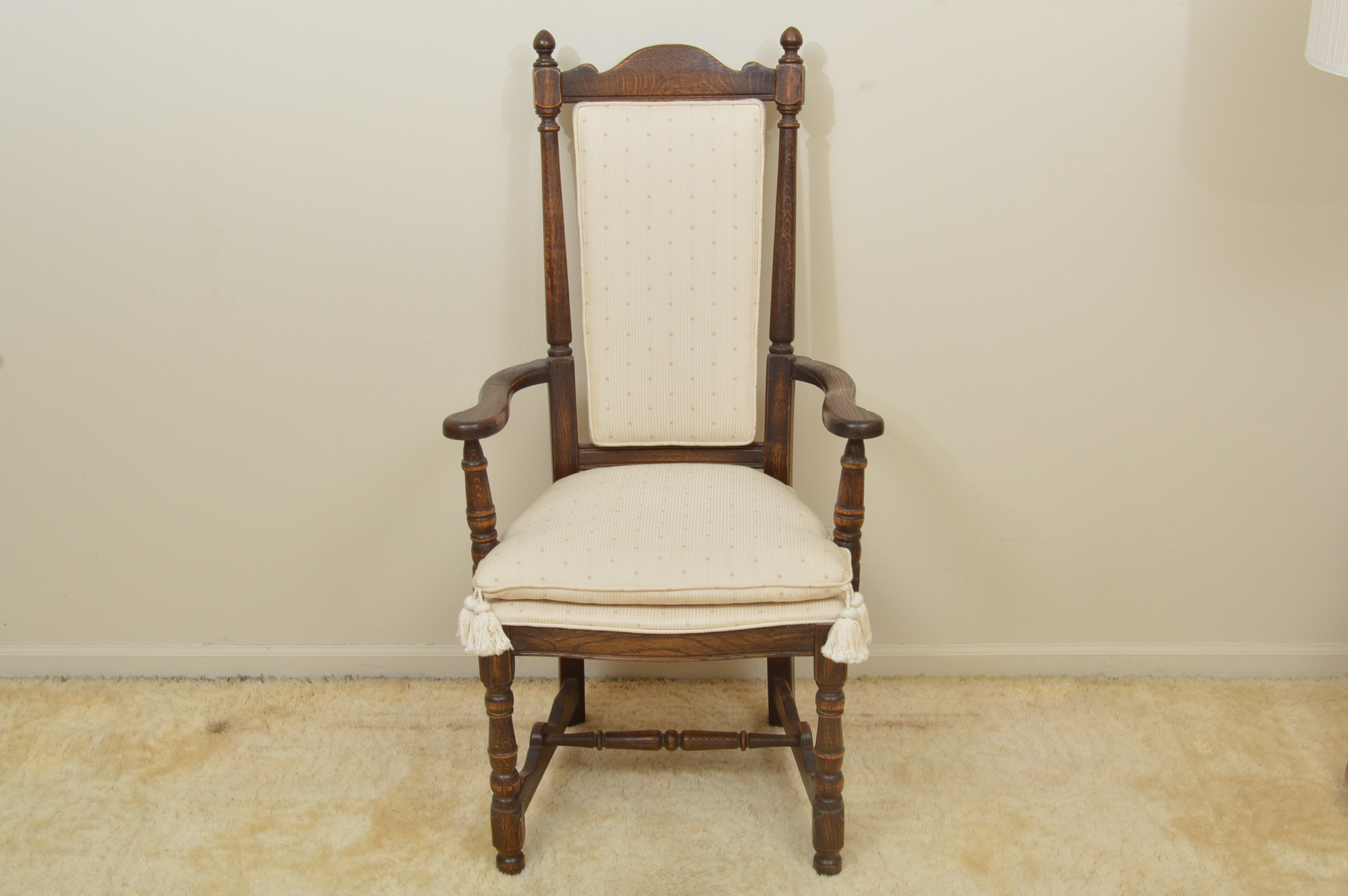 Oak Armchair with White Upholstery