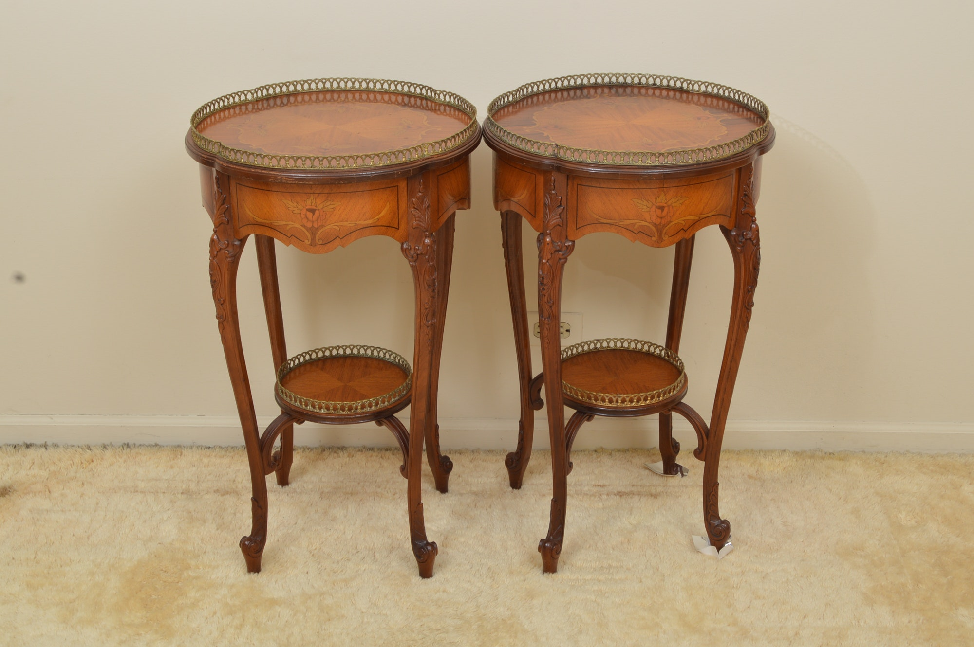 Pair of Louis XV Style Marquetry Inlay Side Tables