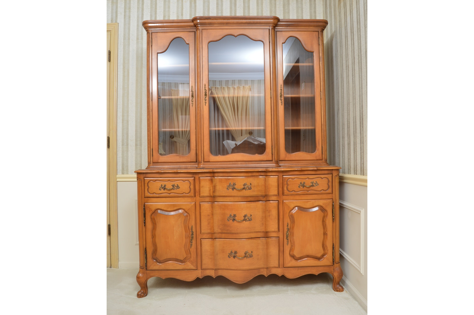 Blonde Wood Breakfront China Cabinet