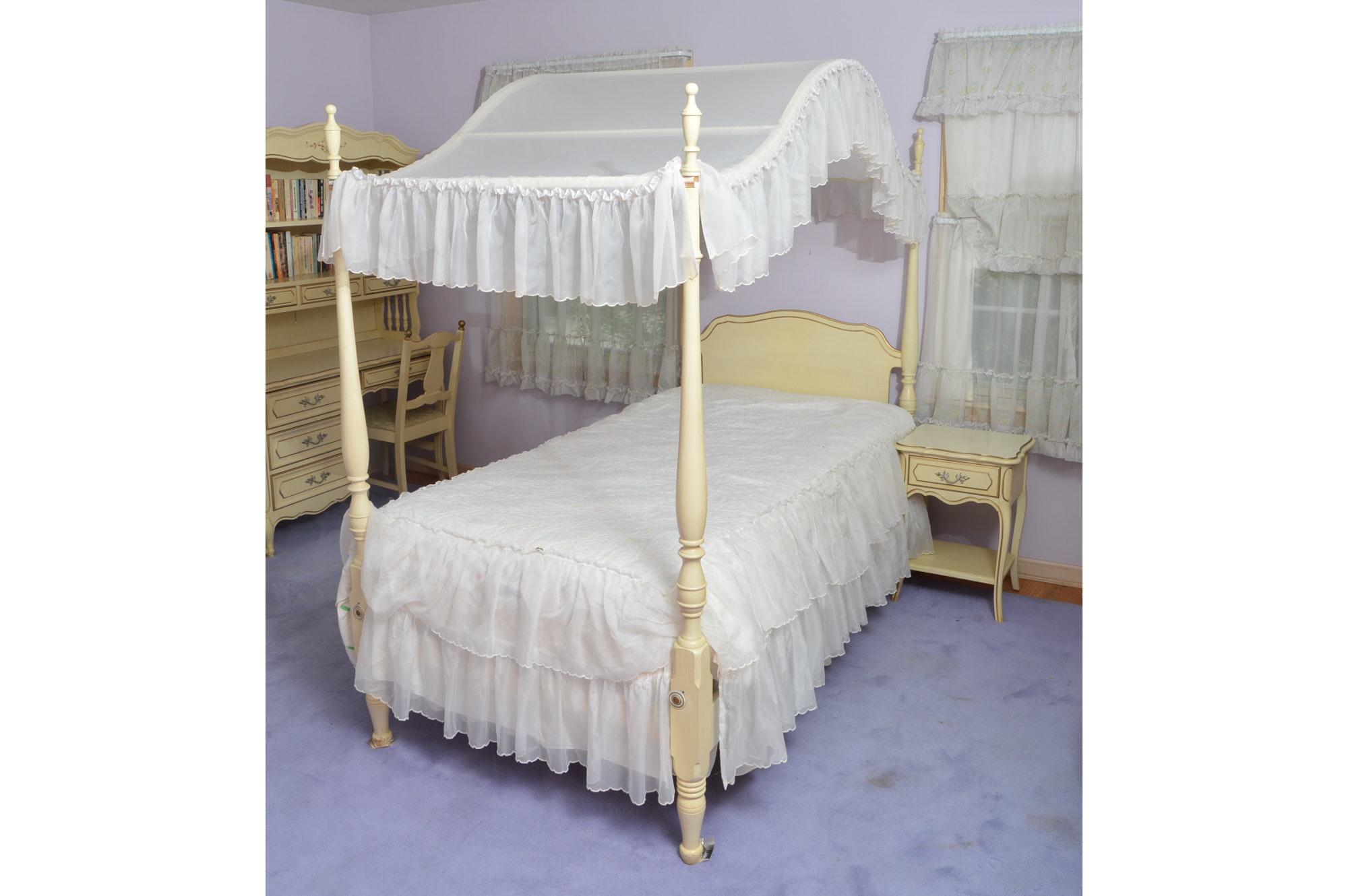 French Provincial Canopy Bed with Matching Nightstand