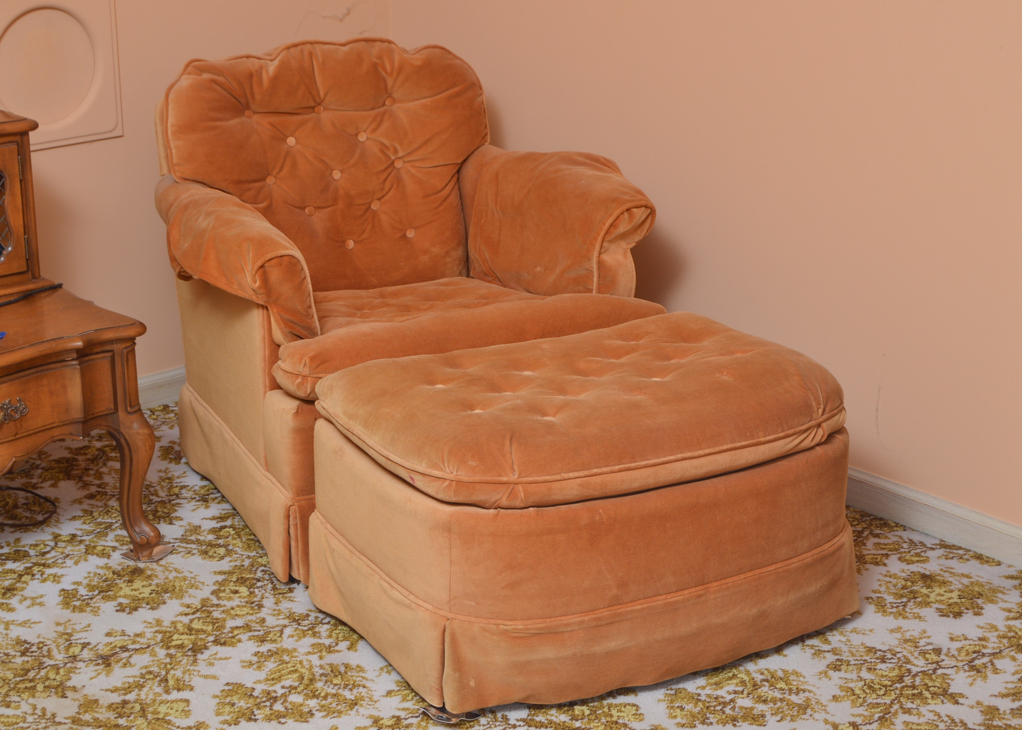 Overstuffed Armchair with Footstool by Marshall Fields