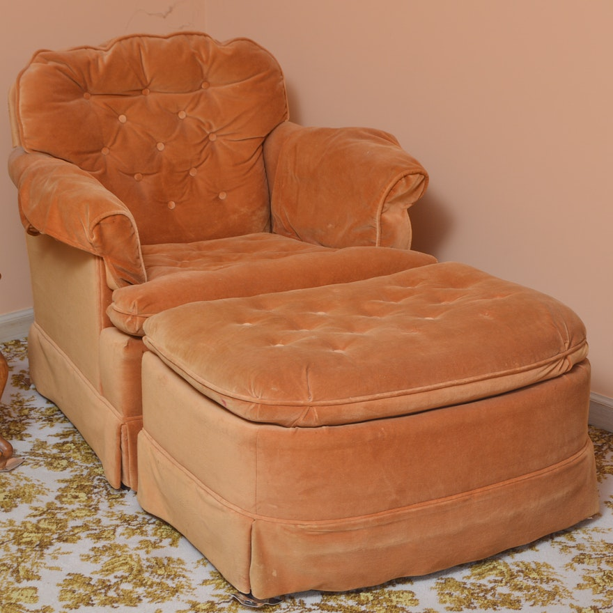 Overstuffed armchair with footstool by marshall fields ebth for Overstuffed armchair