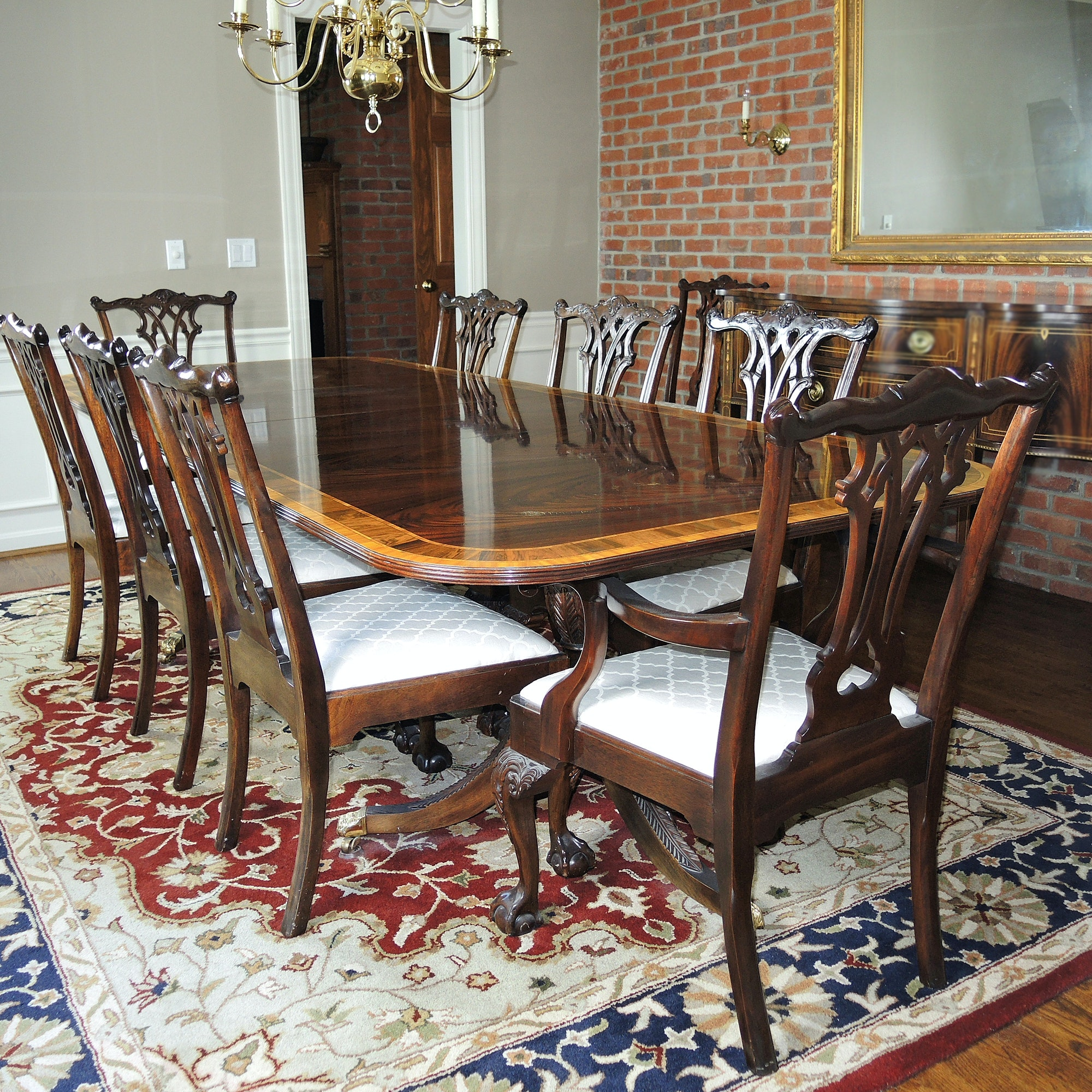 Chippendale Style Mahogany Dining Table / Ten Chairs by Stickley