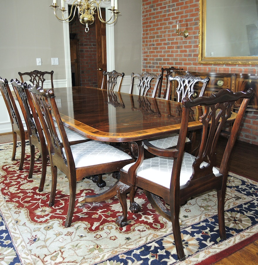 . Chippendale Style Mahogany Dining Table   Ten Chairs by Stickley