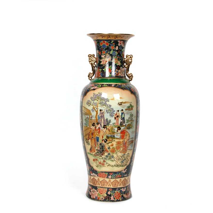 Large Chinese Satsuma Style Floor Vase Ebth