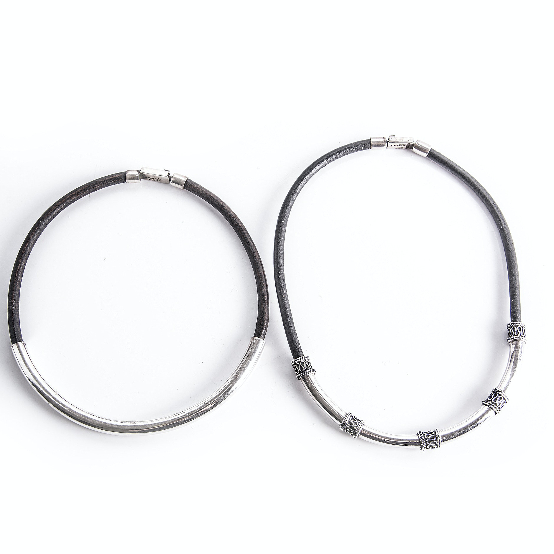 Sterling Silver and Cord Choker Necklaces